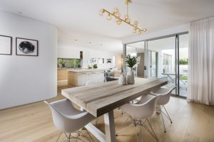 Open plan kitchen, living and dining in The Alpha two storey home by InVogue