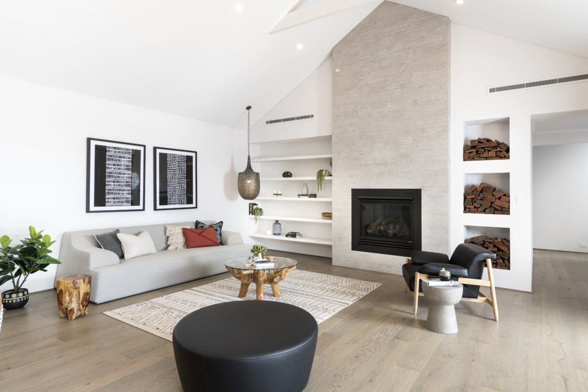 Raked Ceilings fireplace two storey perth builder